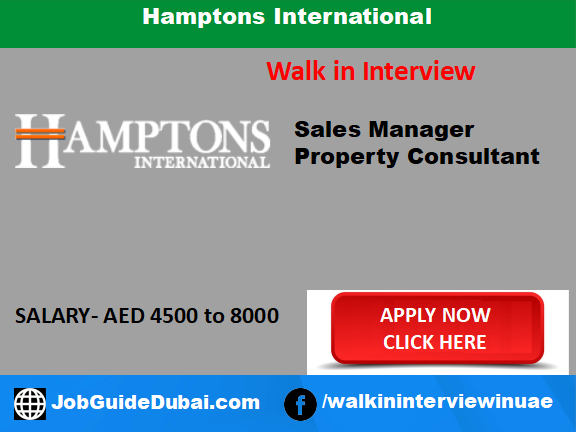 Hamptons International career for Sales Manager and Property Consultant job in Dubai