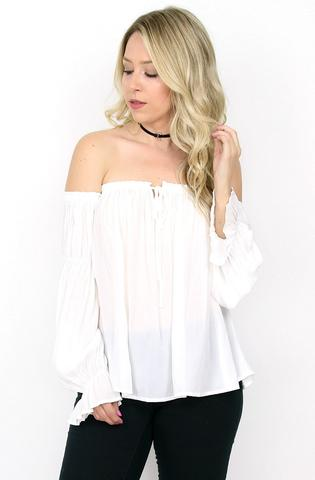 Madison and Mallory Off Shoulder Chiffon Top