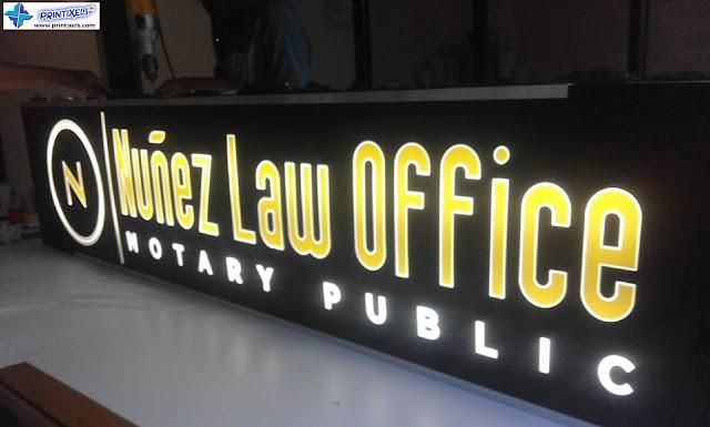 Lighted Panaflex Signage - Nunez Law Office