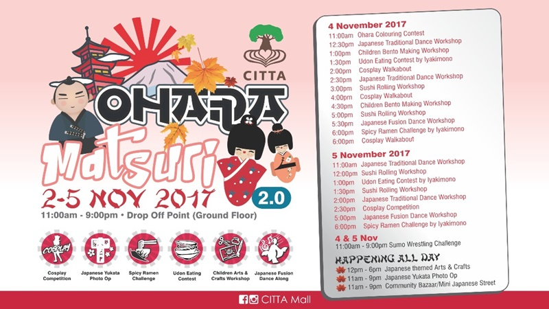Ohara Matsuri, おはら祭り, Ohara Matsuri 2.0, Citta Mall, Japanese Festival in Malaysia, Rawlins GLAM, Cosplay Competition, Spicy Ramen Challenge, Coloring Competition, Bento Making