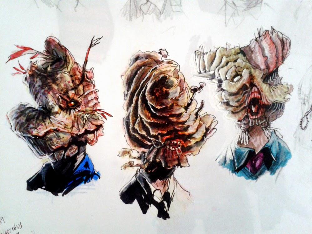 character design, zombi, fungus, infected, infection, sketch, sketchbook, douglas deri, deri, deriart, zumbi, sci-fi