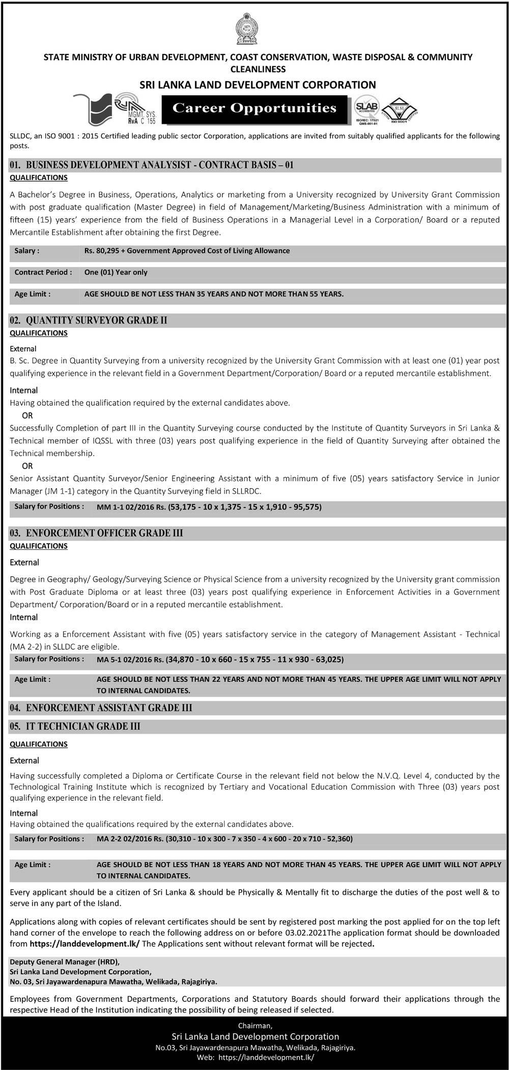Vacancies at Sri Lanka Land Development Corporation