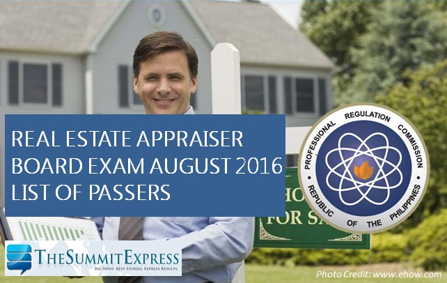 real estate appraiser board exam results 2016