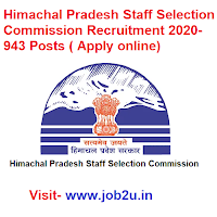 Himachal Pradesh Staff Selection Commission Recruitment 2020, 943 Posts ( Apply online)