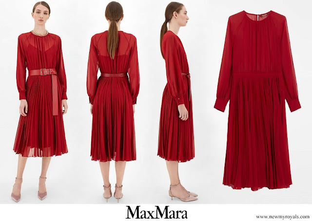 Scarlett Lauren Sirgue wore MaxMara Sable georgette crew-neck dress