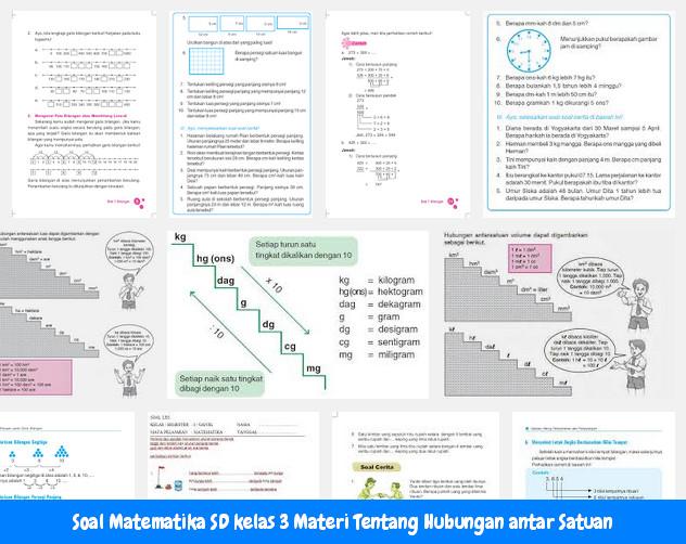 Soal Matematika SD kelas 3 Materi Tentang Hubungan antar Satuan