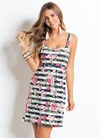 Moda Vestido Floral Listrado Rosa com Alças