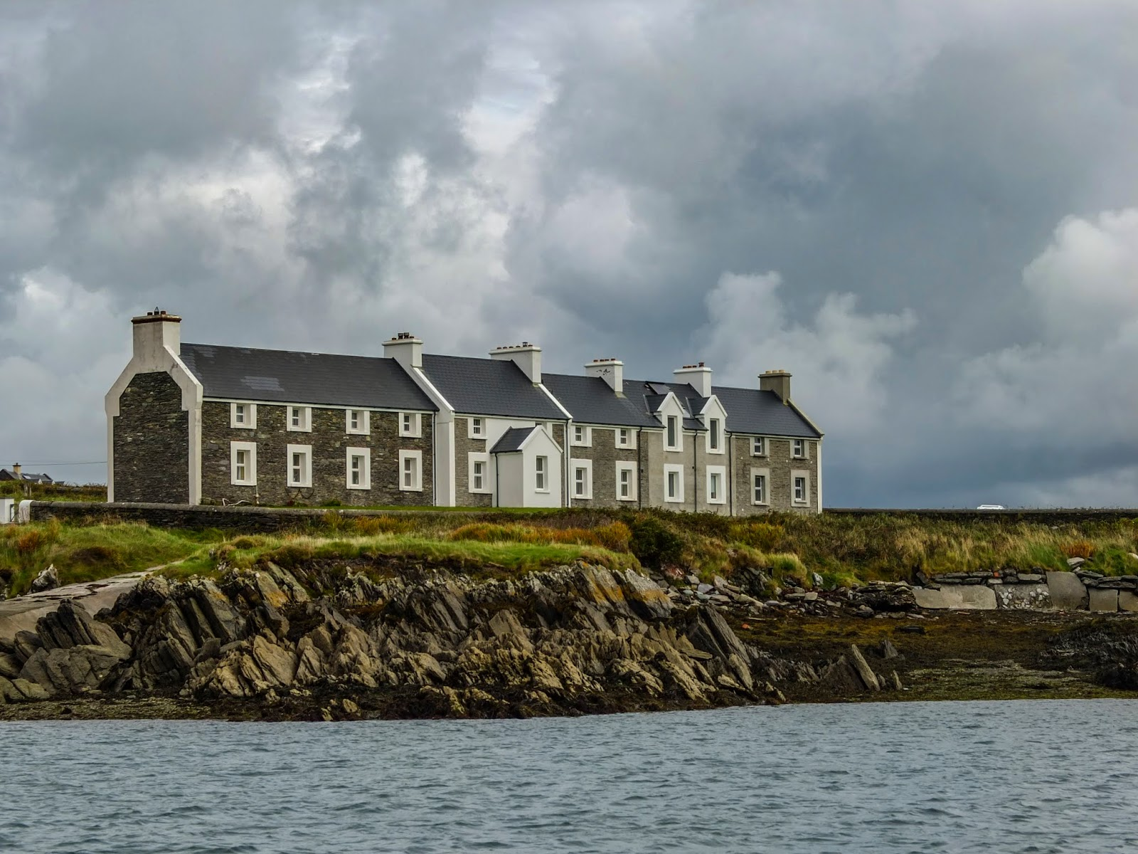 View of the Coastguard Cottages on Valentia Island, Co.Kerry captured from the water.