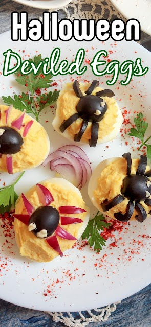image of spider deviled egg with text for pinterest.