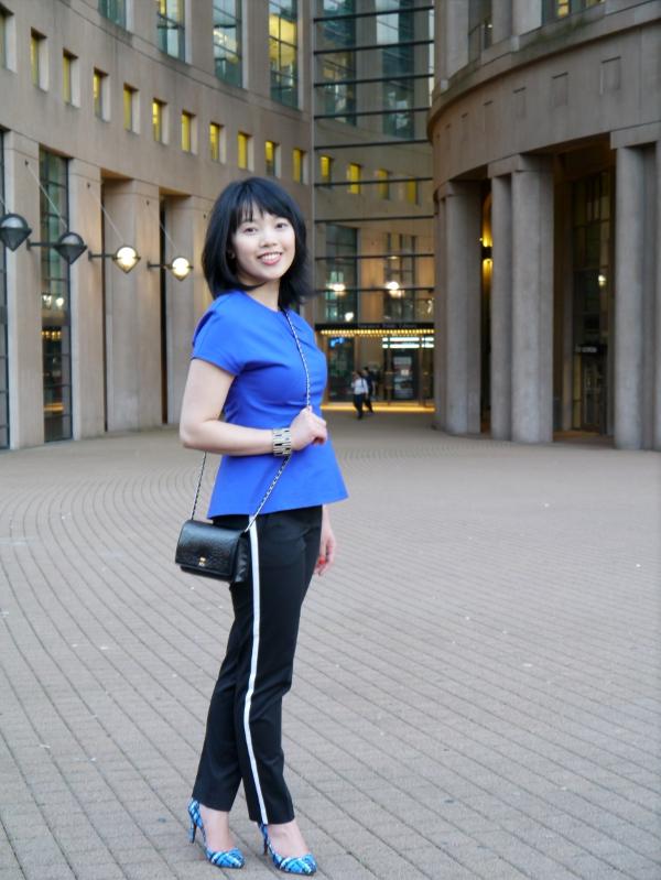 96ca5a82accde1 Latest Outfit: Blue Peplum & Tuxedo Trousers - Solo Lisa