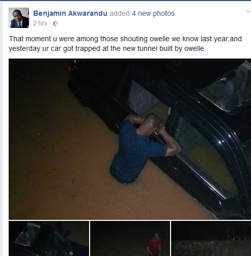 SEE WHAT MAN DID TO ROCHAS OKOROCHA AFTER HIS CAR GOT STUCK AT FLOODED OWERRI TUNNEL(PHOTOS)