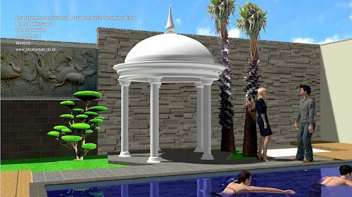 Taman dan kolam renang belakang rumah jasataman.co.id