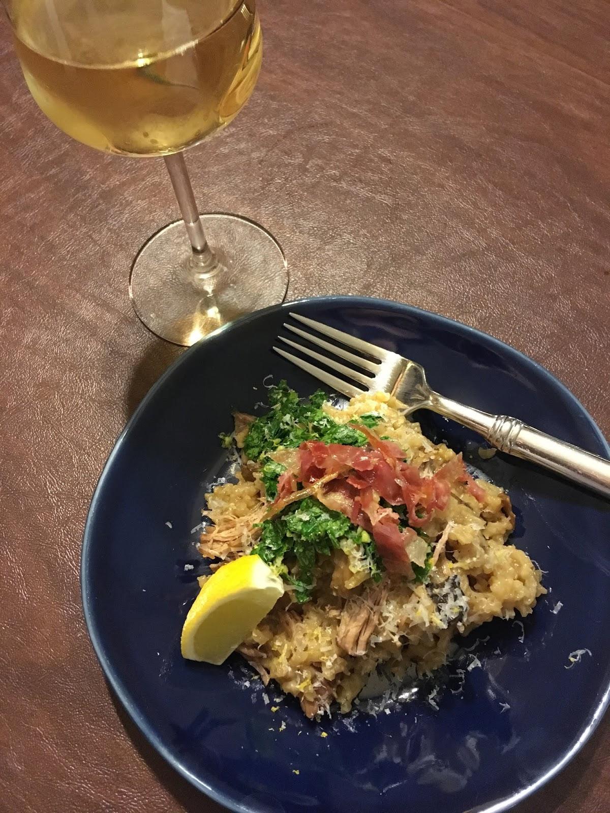 Mushroom Risotto with Braised Pork, Crispy Pancetta, and Gremolata