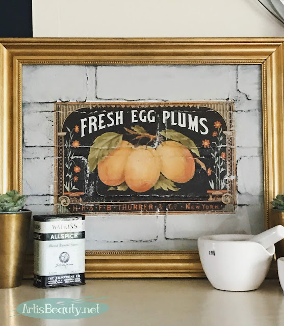 DIY VINTAGE TRANSFER ART USING BRICK PANELING PAINT AND REDESIGN BY PRIMA TRANSFERS AND GENERAL FINISHES MILK PAINT