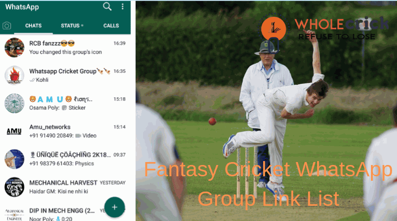 WholeCrick: 87+ Top Fantasy Cricket WhatsApp Group Link List