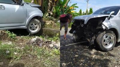 Hindari Ibu-ibu Menyeberang, Mobil di Bone Tabrak Tembok Pembatas SPBU