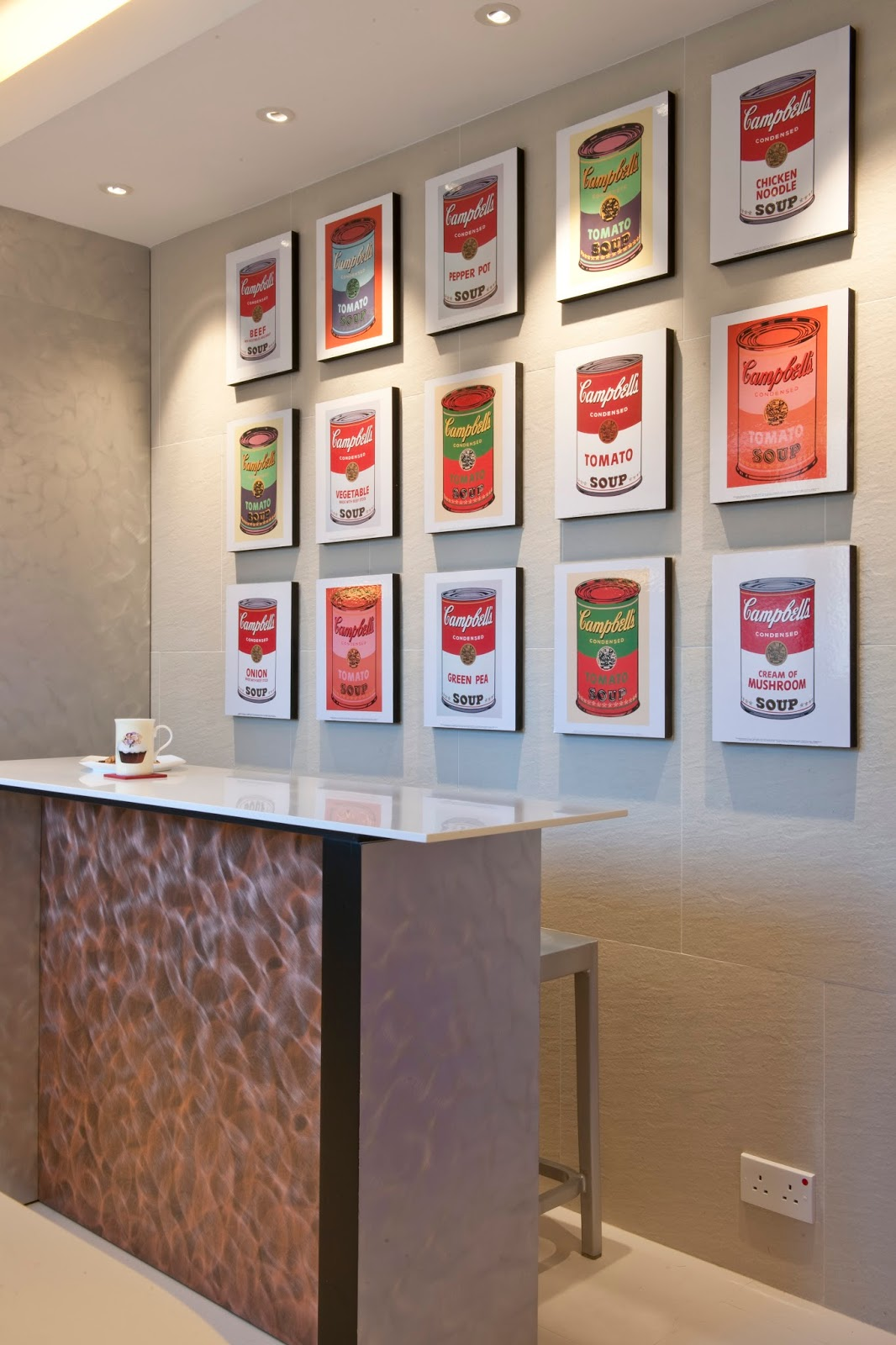 This clean and simple design allows andy warhols campbells soup cans one of the most famous pop art pieces in history to shine