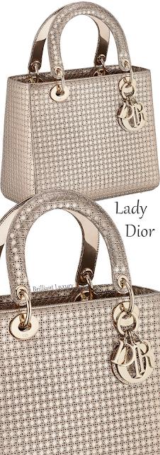 Champagne metallic calfskin Lady Dior bag with micro-cannage motif #brilliantluxury
