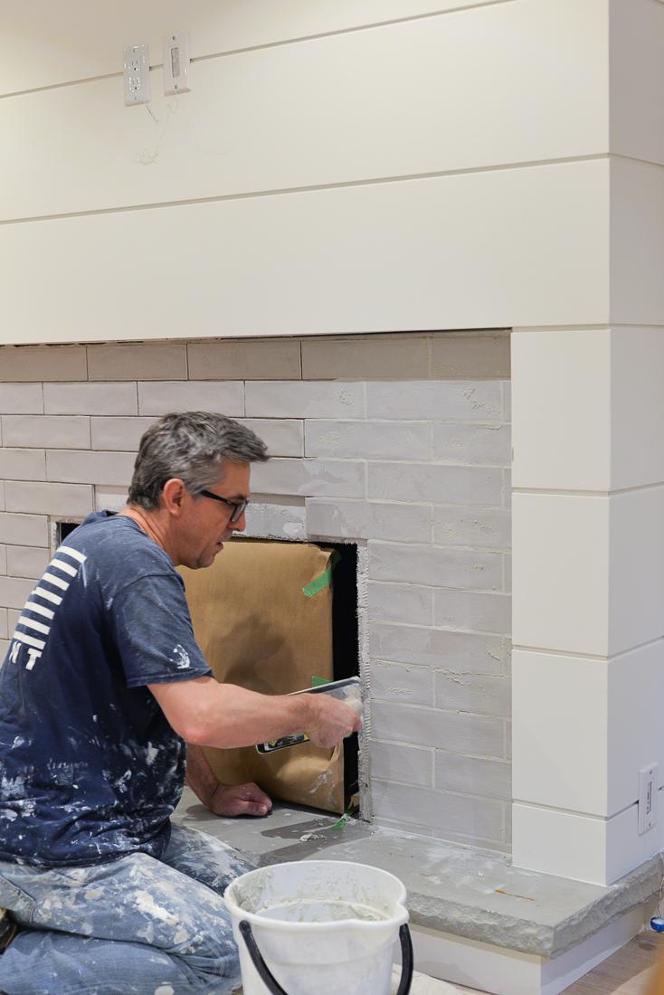 tile installation, the tile shop, fireplace tile, grouting tile