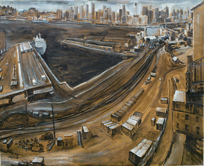 Plein air mixed media drawing of Pyrmont Goods Yard from the roof of Pyrmont Power Station by industrial heritage artist Jane Bennett