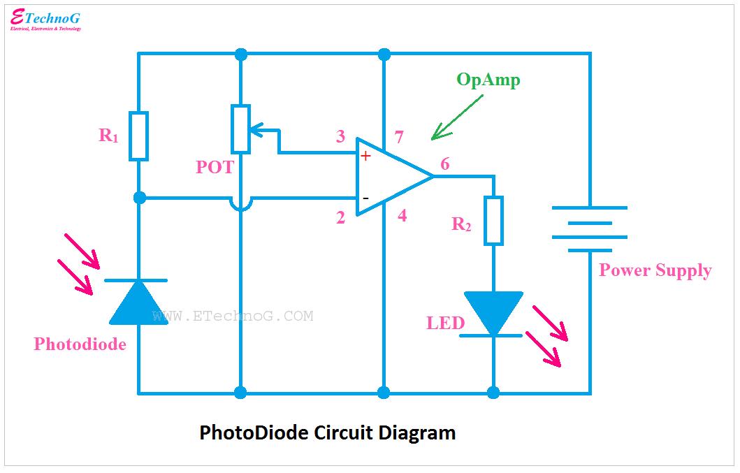 Photodiode Circuit diagram, circuit diagram of photodiode