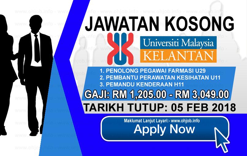 Jawatan Kerja Kosong Universiti Malaysia Kelantan - UMK logo www.ohjob.info februari 2018