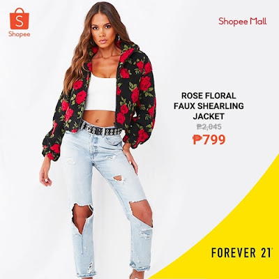 Rose Floral Shearling Jacket Shopee from F21
