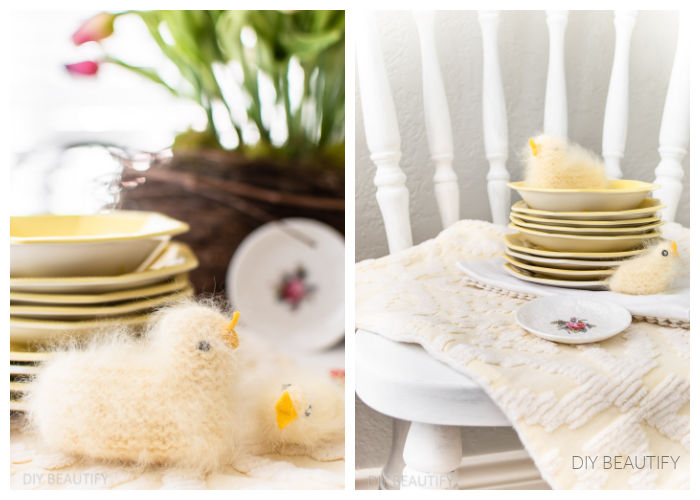 fluffy handmade chicks on Easter table