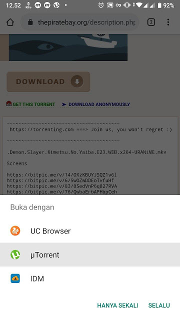 Mencari file torrent di The Pirate Bay