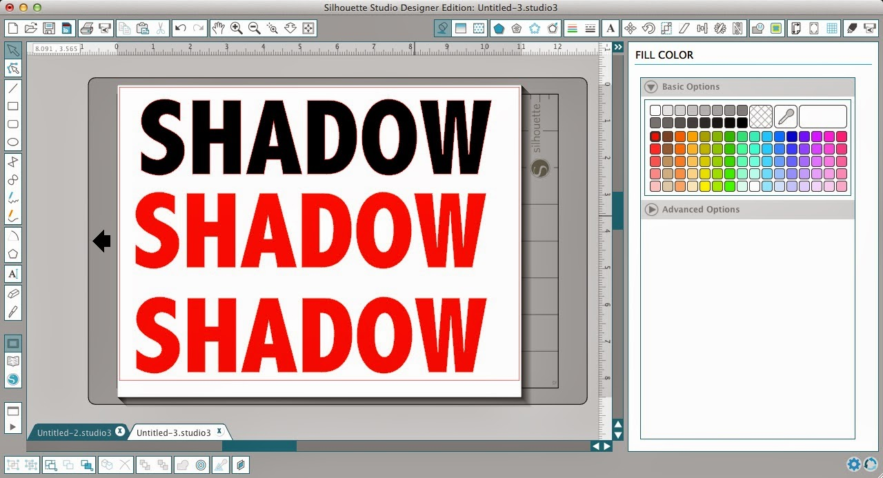 Silhouette Studio, shadow tutorial, text, filled in