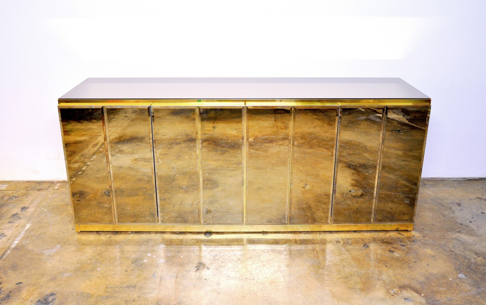 SELECT MODERN: Ello Mirrored and Brass Credenza, Bar ...