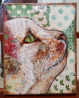 Torn paper and acrylic cat collage by Roxanne Propp on Etsy, from MyCatSylvia.com