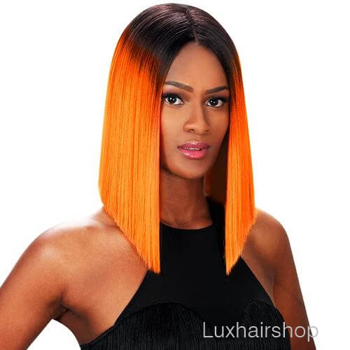 Peruca rai preta e extensão na cor laranja