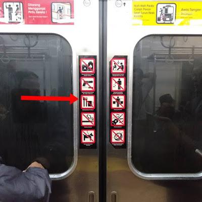 simbol tanda dilarang makan dan minum di commuter line