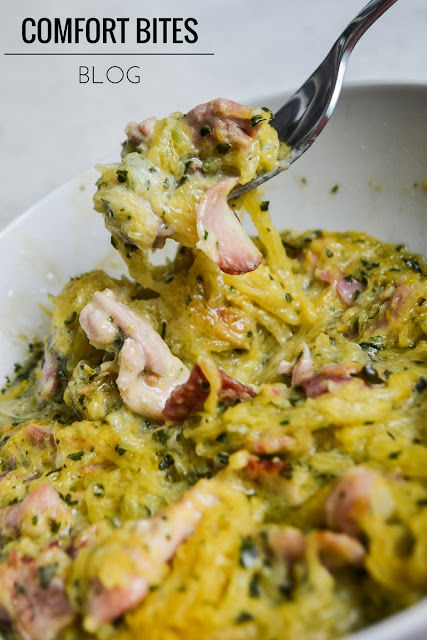 Chicken and Bacon Spaghetti Squash Tetrazzini
