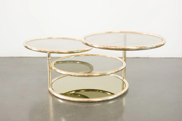 3 tiered gold and glass coffee table from Homestead Seattle