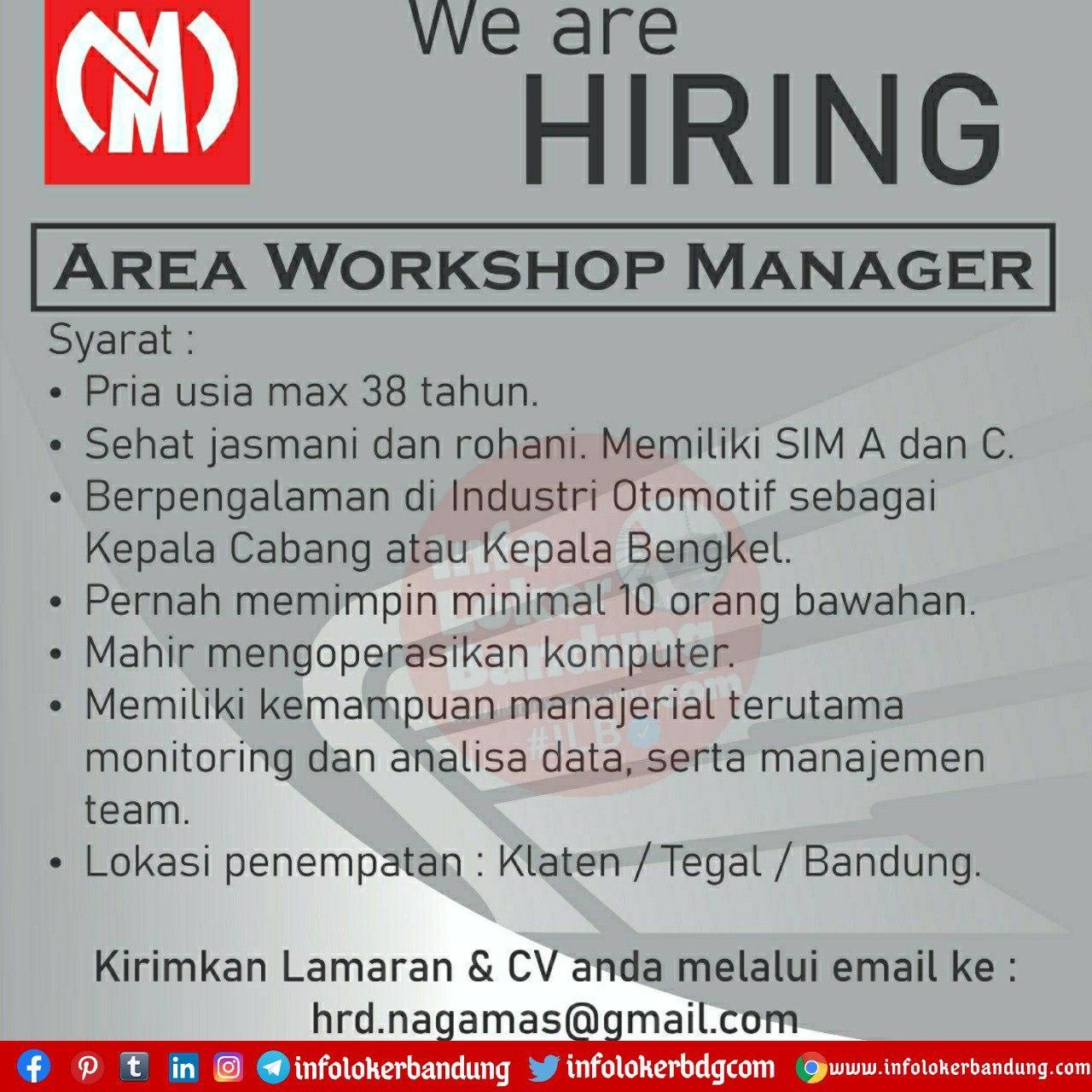 Lowongan Kerja Area Workshop Manager Bandung Oktober 2020