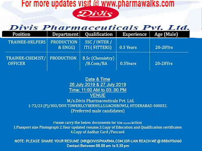 Divis Laboratories - Walk-in interview for Freshers and Experienced candidates on 26th & 27th July, 2019 @ Hyderabad
