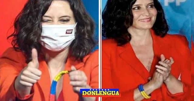 Isabel Diaz Ayuso llevó una pulsera de Venezuela durante su primer discurso