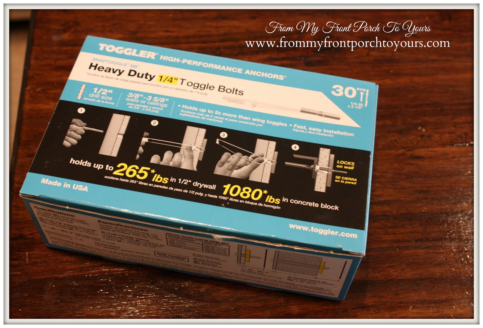 Heavy duty toggle bolts needed to install wood beams securely on ceiling at From My Front Porch To Yours.