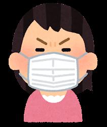 マスクを付けた人の表情のイラスト(女性・怒った顔)