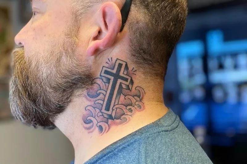 Plus sign, Medium/Big size neck tattoos