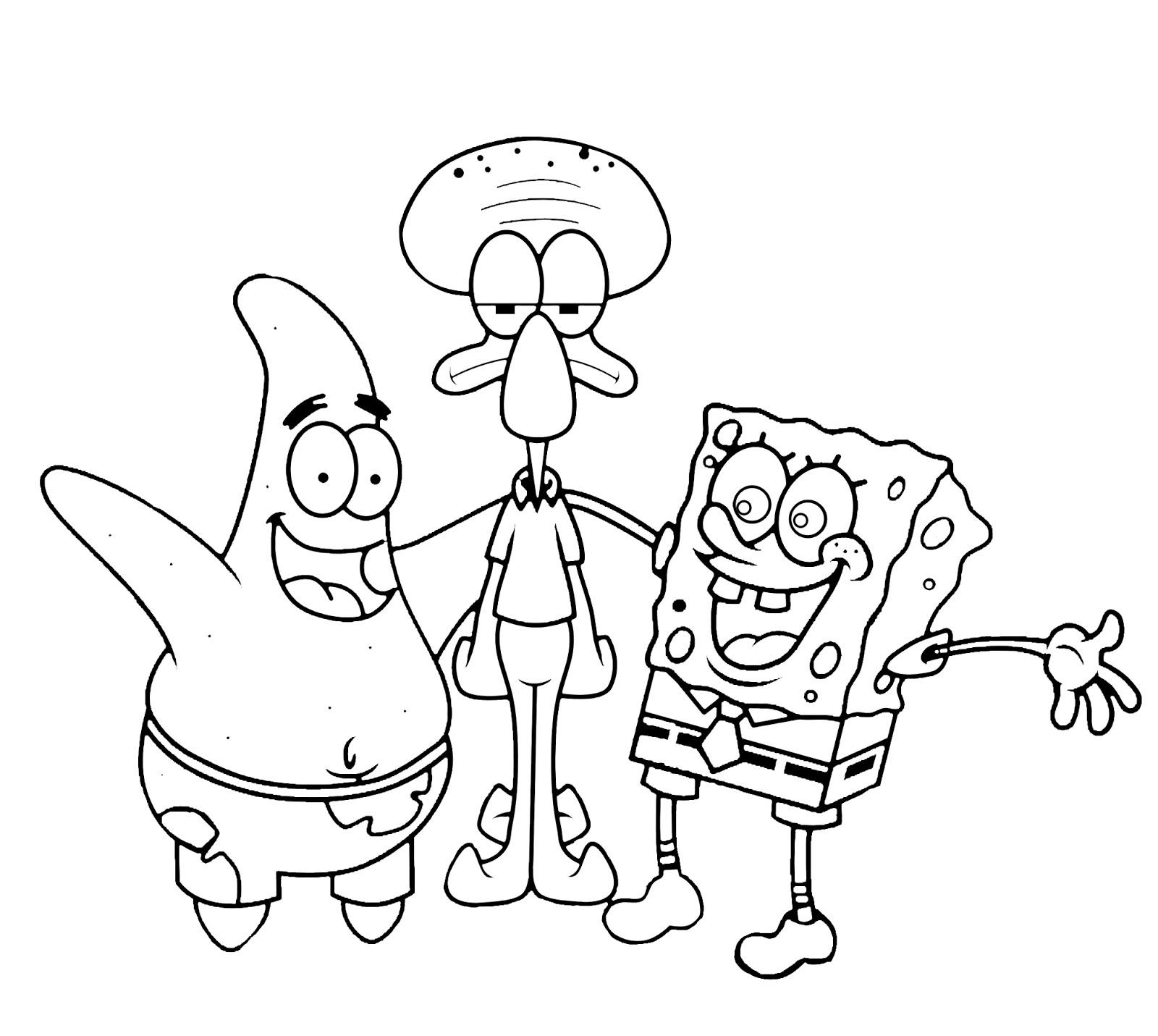 Sketsa Mewarnai Spongebob Gambar Mewarnai Spongebob