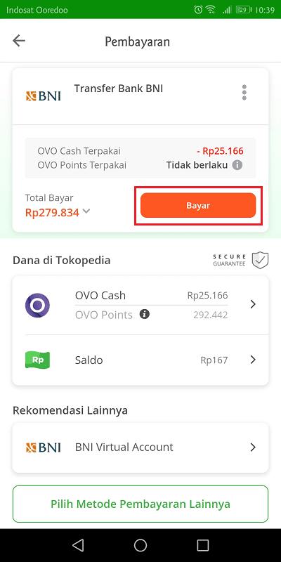 selain ovocash, pengguna bisa membayar tagihan tokopedia menggunakan transfer bank, virtual account atau gerai indomaret/alfamart