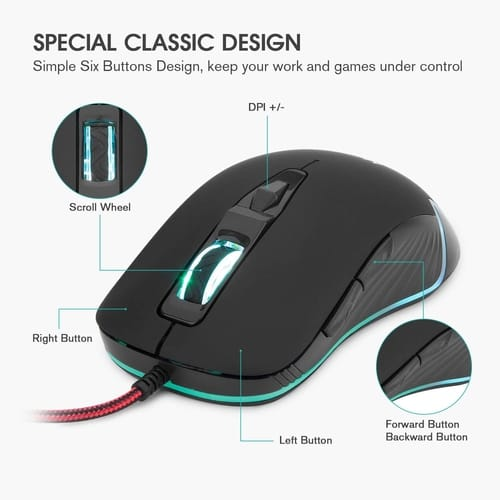 Review Mafiti Wired PC Mouse USB Backlit RGB Mice