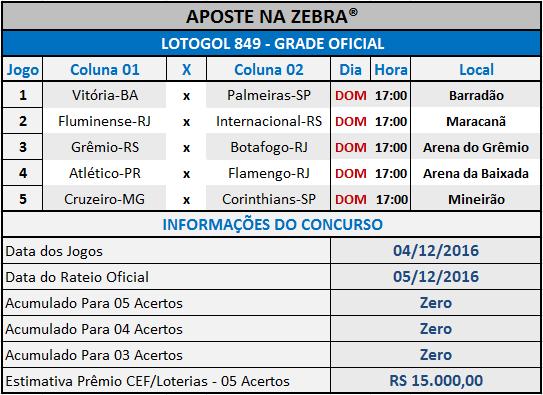 LOTOGOL 849 - PROGRAMAÇÃO / GRADE OFICIAL 02