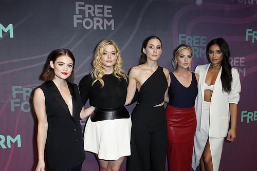 PLL actresses Lucy Hale, Ashley Benson, Sasha Pieterse, Troian Bellisario and Shay Mitchell at Freeform 2016 Upfront