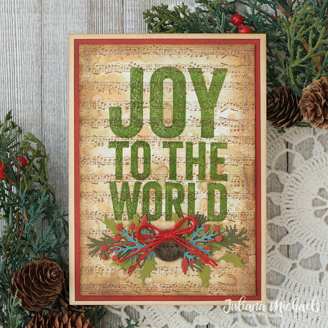 Joy to the World Christmas Card by Juliana Michaels featuring Tim Holtz Bold Tidings Stamp Set