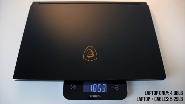 The weight of this MSI GS65 Stealth-004 gaming laptop is 4.08lbs measured using propert weight meter.