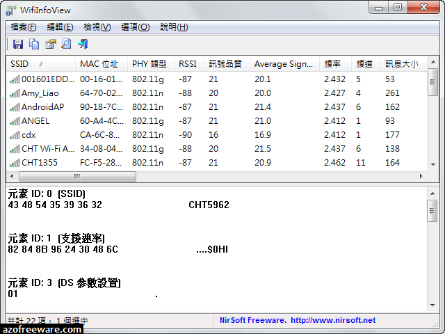 WifiInfoView 2.34 免安裝中文版 - 偵測無線網路訊號強度的軟體 - 阿榮福利味 - 免費軟體下載